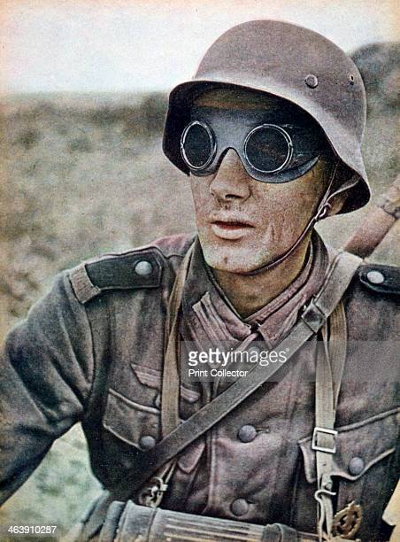 German motorcycle trooper invading eastwards, Russia, 1942. A print from Signal, September 1942. Signal was a magazine published by the German Third...