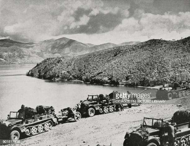 German motorised forces parked during the march to Athens Greece World War II from L'Illustrazione Italiana Year LXVIII No 20 May 18 1941