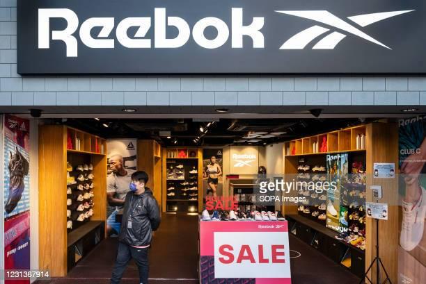 German multinational footwear company brand, Reebok store is seen in Hong Kong.