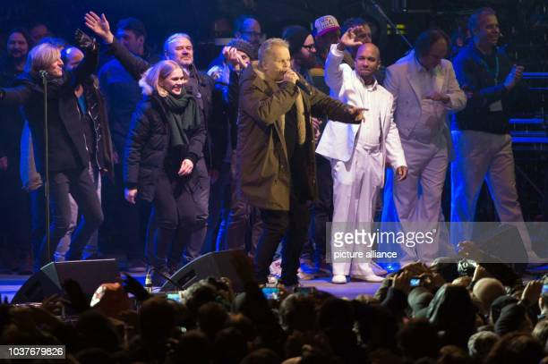 German musician Herbert Grönemeyer performs at the citizen's festival at the Neumarkt in DresdenGermany 26 January 2015 The city of Dresden is...