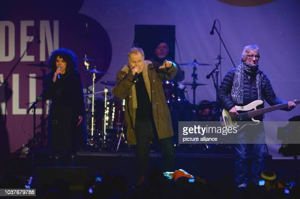 German musician Herbert Groenemeyer on stage at a concert for cosmopolitanism and tolerance at the Neumarkt in DresdenGermany 26 January 2015 The...