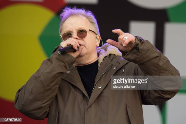 German musician Herbert Groenemeyer on stage during soundcheck atthe Neumarkt in DresdenGermany 26 January 2015 A concert for cosmopolitanism is...