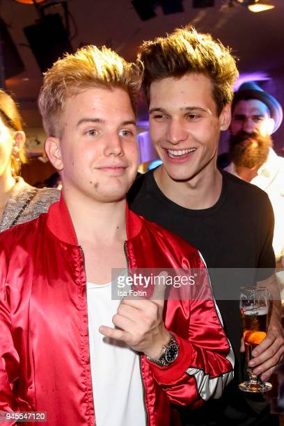 German musician Kayef and German singer Wincent Weiss during the Echo Award after show party at Palais am Funkturm on April 12 2018 in Berlin Germany