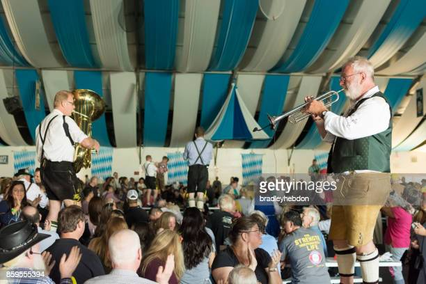 german musicians play for an oktoberfest audience - torrance stock pictures, royalty-free photos & images