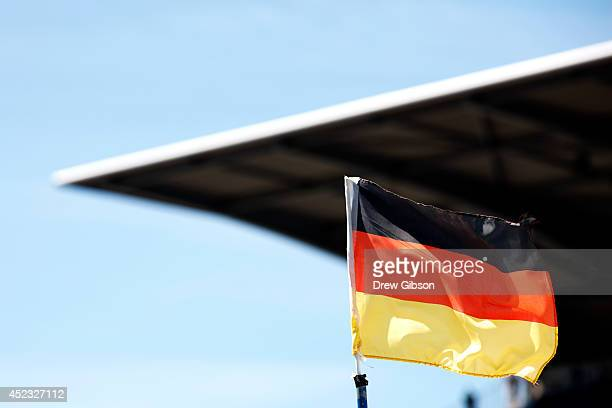 German national flag flaps in the wind during practice ahead of the German Grand Prix at Hockenheimring on July 18 2014 in Hockenheim Germany