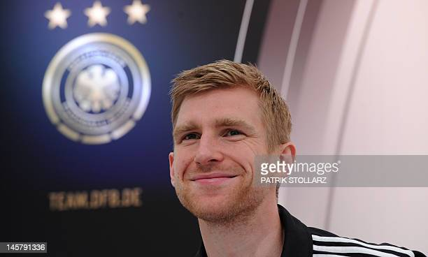German national football team defender Per Mertesacker gives a press conference at Dwor Oliwski hotel in Gdansk on June 6 three days ahead of the...