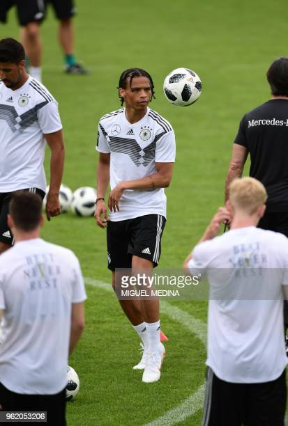 German national football team forward Leroy Sane takes part in a training session at the Rungghof training center on May 24 2018 in Girlan near...