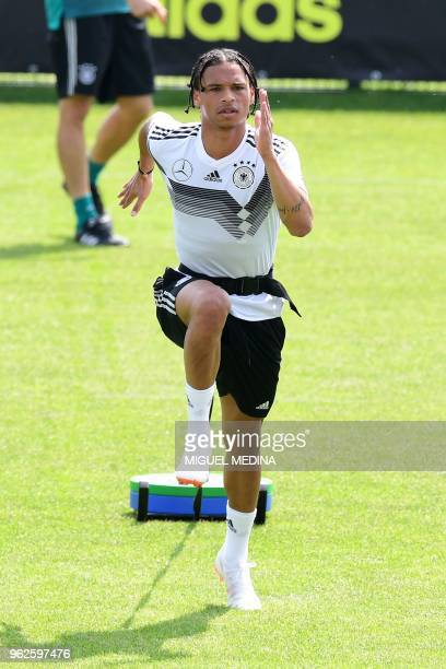 German national football team forward Leroy Sane takes part in a training session at the Rungghof training centre on May 26 2018 in Girlan near...