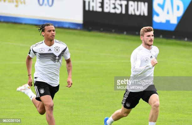 German national football team forwards Leroy Sane and Timo Werner take part in a training session at the Rungghof training center on May 24 2018 in...