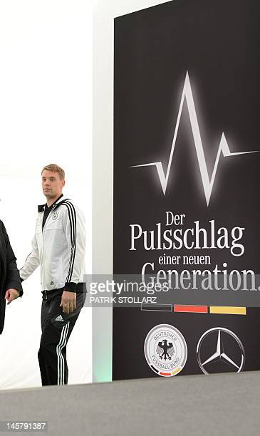 German national football team goalkeeper Manuel Neuer arrives at a press conference at Dwor Oliwski hotel in Gdansk on June 6 three days ahead of the...