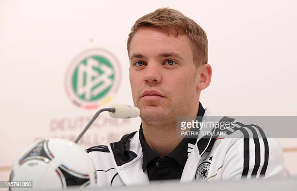 German national football team goalkeeper Manuel Neuer gives a press conference at Dwor Oliwski hotel in Gdansk on June 6 three days ahead of the...