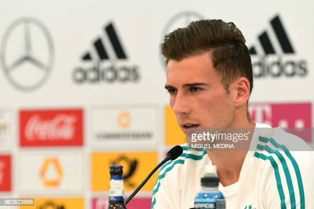 German national football team midfielder Leon Goretzka speaks during a press conference at the Rungghof training center on May 26 2018 in Girlan near...