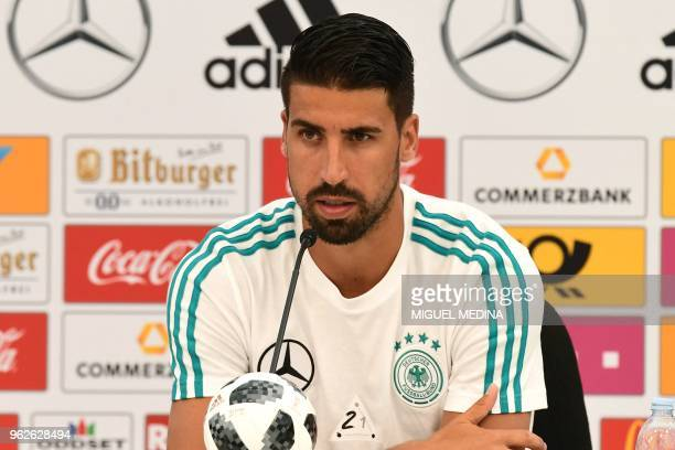 German national football team midfielder Sami Khedira speaks during a press conference at the Rungghof training center on May 26 2018 in Girlan near...