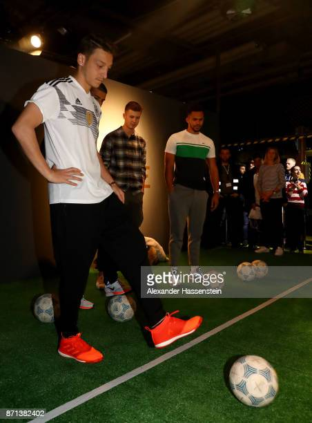 German National Football Team Player Mesut Oezil attends the presentation of the 2018 FIFA World Cup Russia Adidas jersey at The Base on November 7...