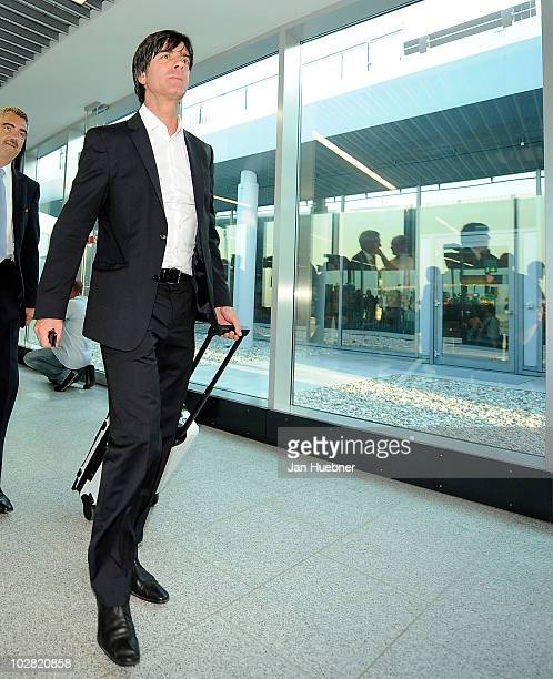 German national head coach Joachim Loew walk through the terminal between the german national team arrival on July 12 2010 in Frankfurt am Main...