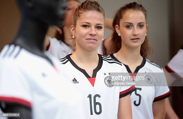 German national players Melanie Leupolz and Sara Daebritz arrive for an unofficial presentation of the new German FIFA World Cup 2015 home jersey at...