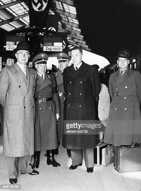 * German National Socialist politician 193045 NSDAP party leader of Danzig Forster arriving from Danzig for Hitler's 50th birthday in Berlin
