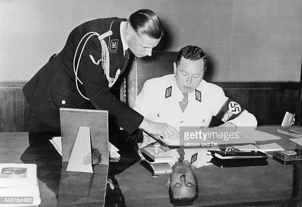 * German National Socialist politician 193045 NSDAP party leader of Danzig Forster and adjutant Straubmann in his office August 1939