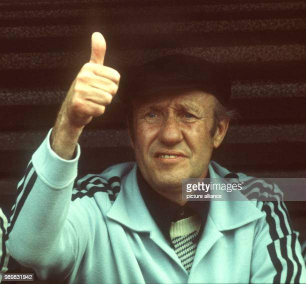 German national team coach Helmut Schoen signals a thumb's up during his team's 1974 World Cup preliminary round Germany against Australia at the...