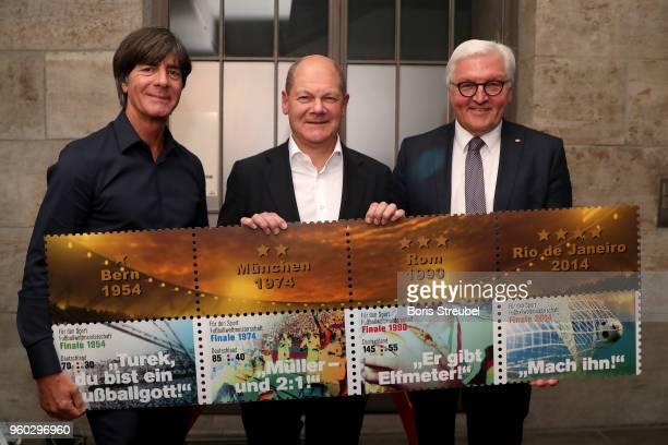 German national team head coach Joachim Loew federal finance minister Olaf Scholz federal president FrankWalter Steinmeier present a new set of...