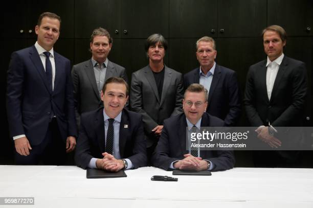 German national team manager Oliver Bierhoff, Germany national team assistant coach Marcus Sorg, German national team head coach Joachim Loew, German...
