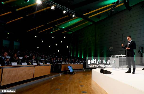 German national team manager Oliver Bierhoff talks to the audience during the Extraordinary DFB Bundestag at Messe Frankfurt on December 8, 2017 in...