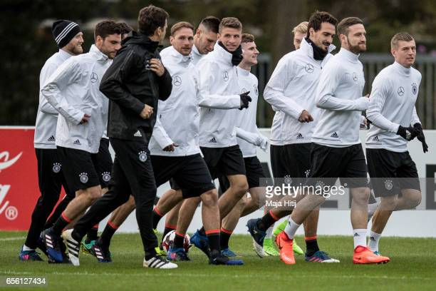 German national team runs during training ahead of the international friendly match against England at on March 21 2017 in Kamen Germany