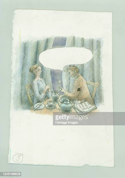 German naval bombardment of Scarborough, North Yorkshire, 1914 .. A reconstruction illustration showing a couple reading a prayer at breakfast in 'An...