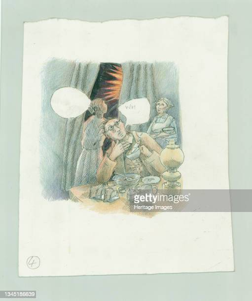 German naval bombardment of Scarborough, North Yorkshire, 1914 . A reconstruction illustration showing a woman looking through the curtains in 'An...