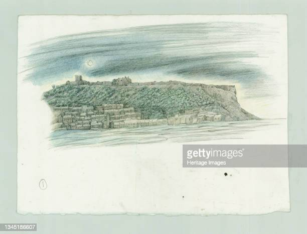German naval bombardment of Scarborough, North Yorkshire, 1914 . A reconstruction illustration of Scarborough from the sea. The illustration shows a...