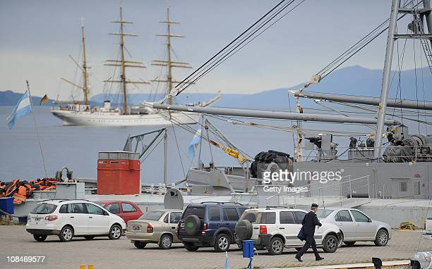 German naval investigator arrives board an Argentine naval boat that will cary him and colleagues to the German Navy tall ship Gorch Fock which is...