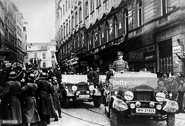 German nazi Chancellor Adolf Hitler and his army parade in Prague on March 15, 1939 day of the invasion of Czechoslovakia by the Wehrmacht. AFP PHOTO...