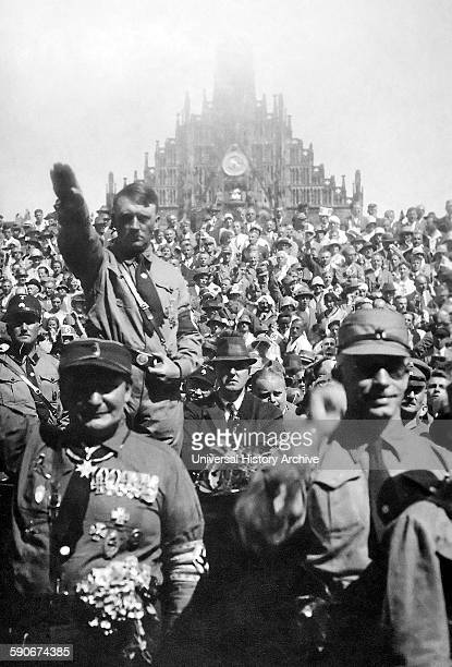 German Nazi leader and Chancellor Adolf Hitler at Nazi party rally Nuremberg Germany