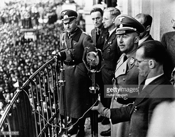 German Nazi leader and chief of police Heinrich Himmler speaks from Town Hall in Linz Austria 1938