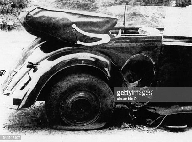 REINHARD HEYDRICH German Nazi officer and chief of the Gestapo The car Heydrich was driving in Prague Czechoslovakia when he was mortally wounded by...