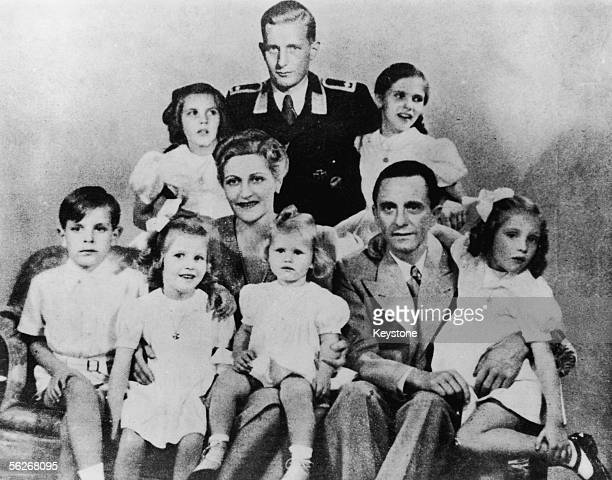 German Nazi politician and minister of propaganda Paul Joseph Goebbels with his wife Magda and their children Helga Hildegard Helmut Hedwig Holdine...