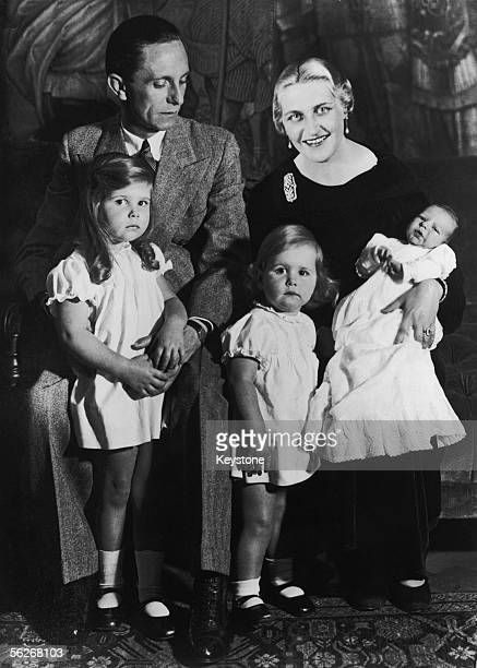 German Nazi politician and minister of propaganda Paul Joseph Goebbels with his wife Magda and their children Helga Hildegard and Helmut November 1935