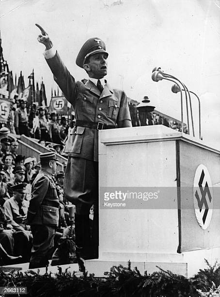 German Nazi politician Joseph Goebbels speaking at a military gathering.