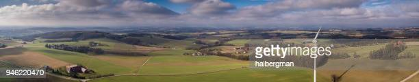 German Near Herford Landscape With Wind Turbine - Aerial View