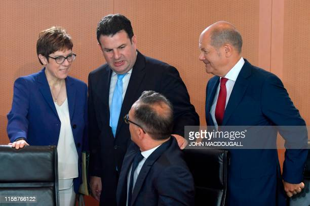 German new Defence Minister Annegret Kramp-Karrenbauer, German Labour Minister Hubertus Heil, German Foreign Minister Heiko Maas and German Finance...