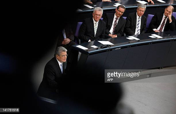 German new president Joachim Gauck delivers a speech during his swearingin ceremony at the Reichstag building hosting an extraordinary session of...