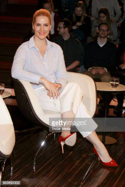 German news anchor Judith Rakers during the 'Markus Lanz' TV show on May 2 2018 in Hamburg Germany