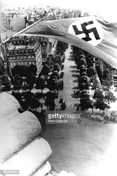 German occupation of Paris World War II June 1940 The Nazi flag flying from the Arc de Triomphe