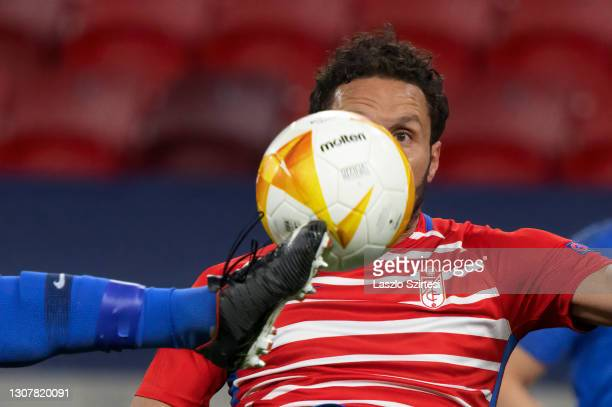 German of Granada CF looks at the ball during the UEFA Europa League Round of 16 Second Leg match between Molde and Granada at Puskas Arena on March...