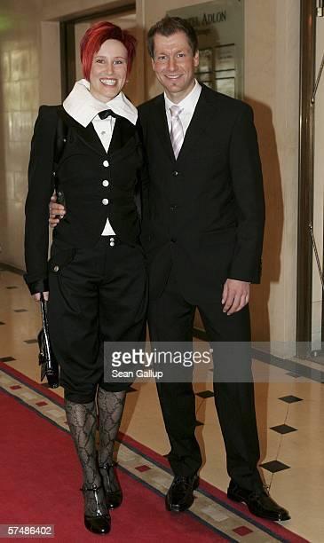German Olympic medalist Kati Wilhelm and Andreas Emslander arrive at the Goldene Sportpyramide Awards April 28 2006 in Berlin Germany