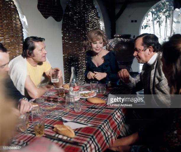 German opera singer Anneliese Rothenberger and her husband Gerd Wendelin Dieberitz for a cosy gettogether after shooting a song with German pop...