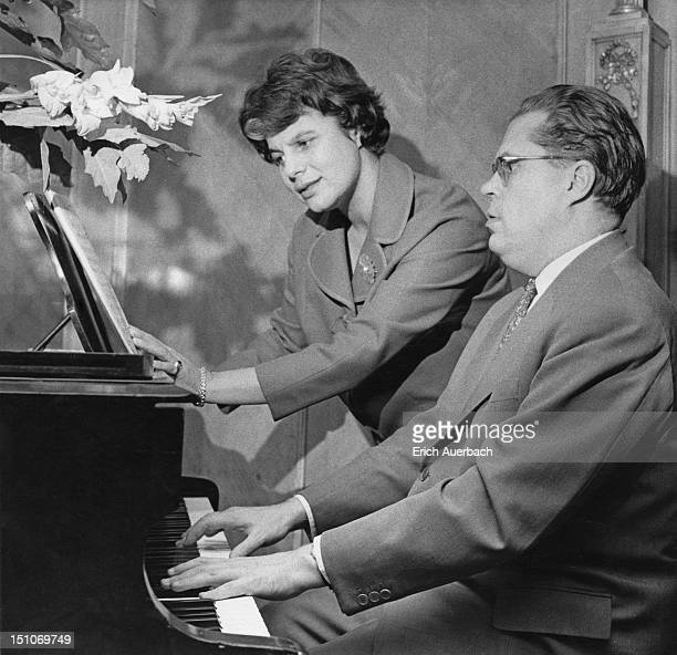 German operatic soprano Irmgard Seefried accompanied by Austrian pianist and composer Erik Werba 6th November 1958