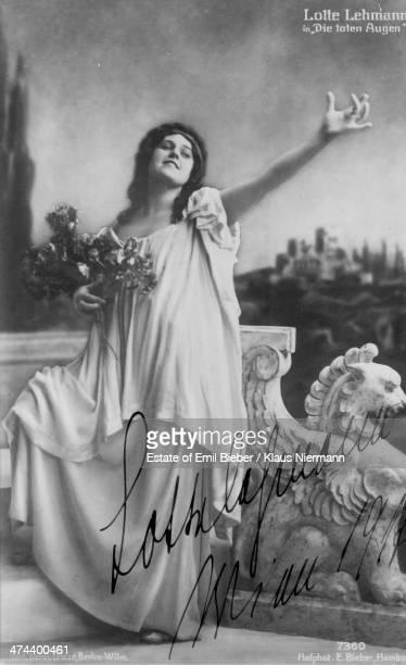German operatic soprano Lotte Lehmann as she appears in the role of Myrtocle in 'Die Toten Augen' by Eugen d'Albert Hanns Heinz Ewers and Marc Henry...