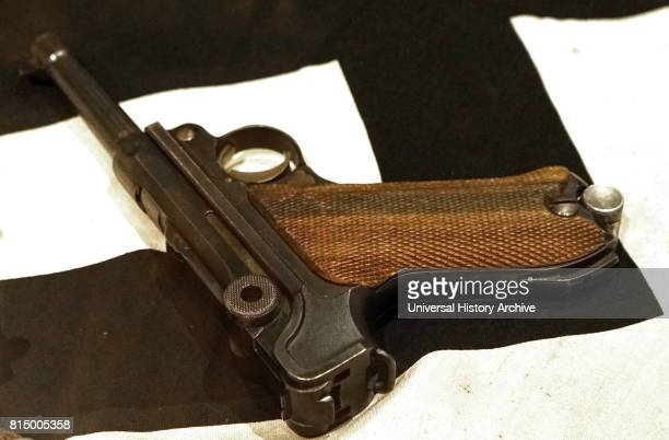 German P08 Luger pistol Nazi flag captured during the liberation of France in World war two