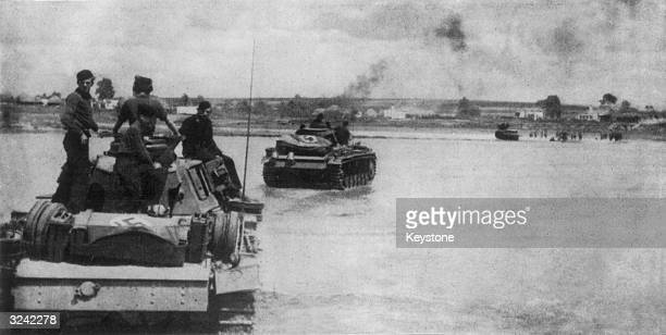 German panzer division crossing the Don River in Russia during World War II before advancing on Stalingrad